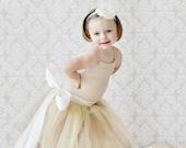 champagne flower girl dress, gold flower girl dress, gold champagne flower girl dress, tulle, tutu