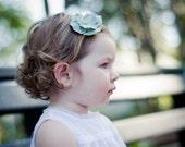 alligator clip, flower hair clip, blue baby hair clip