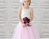 pink flower girl dress, tulle flower girl dress, long tutu skirt, dress