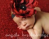 red and black baby headbands, red flower, newborn headbands, baby girl holiday