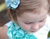Flower Hair clips, alligator clips, vintage hair clips, Custom hair clips, aqua blue, baby hair clip, flower girl hair clips