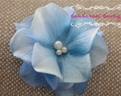 light blue flower hair clip, small flower clip, small flower hair clips