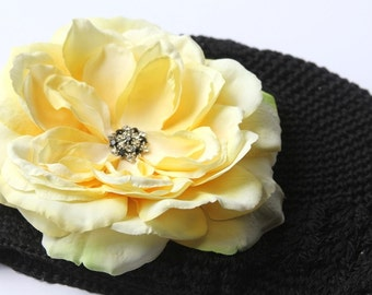 Black Beanie Hat with a Premium Silk Flower Embelished with a Diamond Broche in the Center  INFANT TO TEEN SIZES