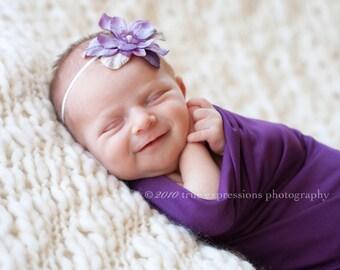 Skinny elastic lavender purple flower headband for newborn baby to adult, great photo prop