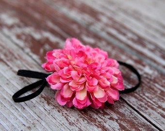 Darling Magenta Pink Pom Pom Flower on a Skinny Elastic Headband for Newborn to Adult Sizes