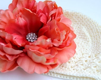 Jumbo Peach Embelished Flower on a Cream Kufi Hat - GREAT FOR PHOTOGRAPHY