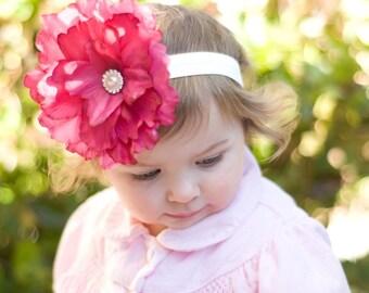 Hot Pink Flower Headband, baby headband, newborn headband, birthday headband