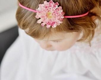 Baby Headband, Pink Flower Headband, Pettit Flower Headband