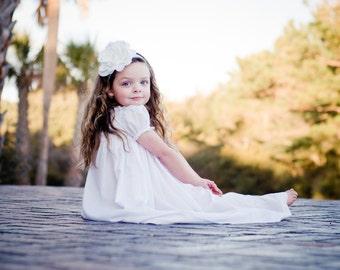White Beautiful Flower on Stark White Lace Headband. Bridal Flower Girl Baptism Christening Newborn Baby Adult