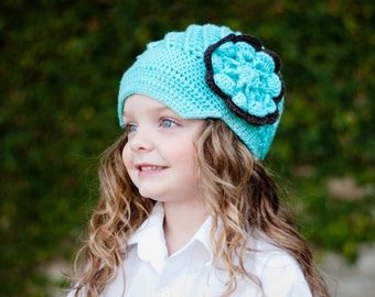 Aqua Blue Crocheted Hat Layered Flower Brown and Blue Available in all sizes PHOTOGRAPHY  Prop