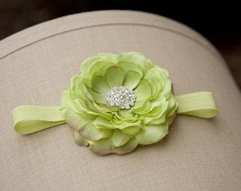 Green baby headband,  Flower Headband, newborn headband
