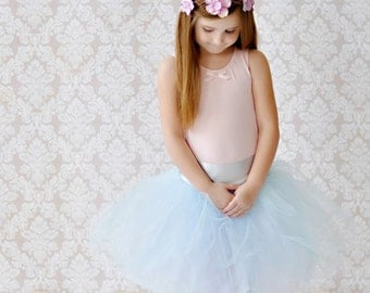 Gorgeous Sky Blue with White and Silver Satin Waist tutu  skirt for NEWBORNS infants toddler girls Weddings Photography