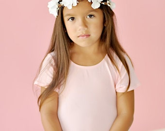 White Flower Hair Wreath, flower girl head piece, flower girl headband,  flower girl hair accessories