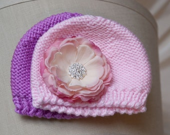 Pink and Lavender Newborn Crocheted Flower Hat Set with detachable vintage pink flower clip. PHOTOGRAPHY Gift Baby 0-6mnts.