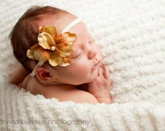baby headband, small flower headband, brown, tan