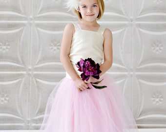 pink flower girl dress, tulle flower girl dress, long tutu skirt, dress
