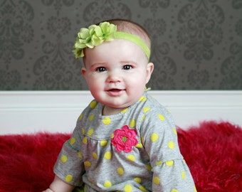 Green Flower Headband small flowers with swarovski crystals center on elastic headband NEWBORN Infant Toddler Girl  many COLORS available
