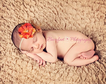 Vintage baby headband, feather infant headband, orange