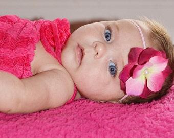 Vintage pink headband, newborn headband, photography prop, pink headband, fuschia headband