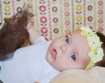 Yellow with Lime Green hydrangea small flower headband for Newborn Baby Infant Toddler Girl Tween Adults