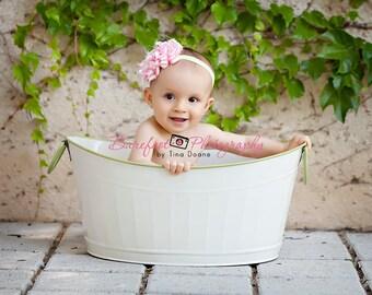 Light Pink Flower Headband on Lime Celery Green Elastic Headband PHOTOGRAPHY Birthday Baby Newborn Infant