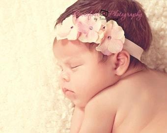 baby headband, Vintage Pink Flower headband, skinny Elastic Headband, Newborn headband, Baby headbands