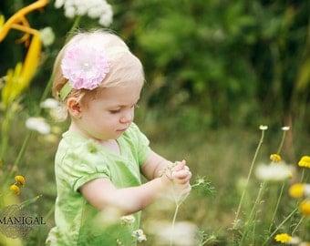 baby headband, Pink Flower Heaband, lime green headband, newborn headband, infant flower headband
