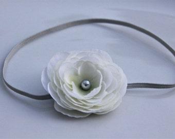 white flower headbands, newborn photography props, Infant Headband, Toddler Headband, Baptism headband