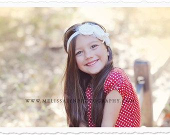 Flower girl headband, ivory headband, baby