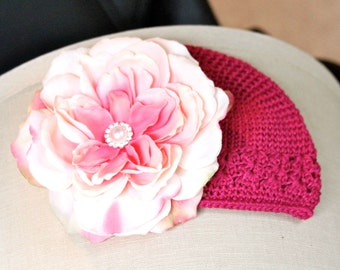Hot pink beanie hat with GORGEOUS vintage pink flower on a hair clip NEWBORN to 6 year old girls. PHOTOGRAPHY Props