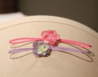 baby set headband, Set of Pink/Lavender Purple Small Petite FLower, Skinny Elastic Headband Newborn to Adult PHOTOGRAPHY PROPS