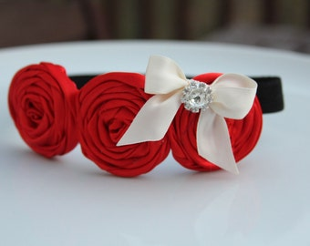 Red baby headband, Flower girl hair accessory for weddings, baby headbands, photography props for newborns