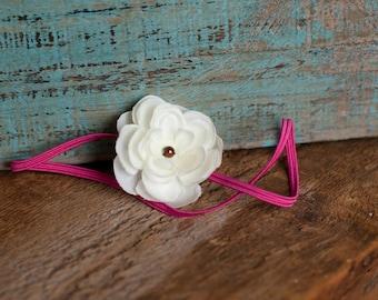 white small flower Headband, hot pink skinny elastic,  PHOTOGRAPHY PROP, baby headband Flower Girls Weddings