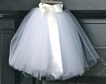 White flower girl tutu dress for weddings, flower girl dresses, sewn tutus, chic tutus, luxurious tutus