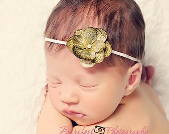 headband, small green flower headband for babies, newborn photography props, Fall Infant Headband, Toddler Headband