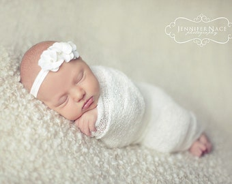 baby headband, White baby headband, newborn headband, white newborn headband, small white flower headband, baby headbands