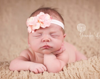pink small flower baby headband, newborn headband