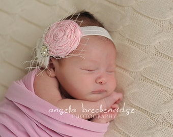 Pink newborn Headband, ivory newborn headband, toddler headband, infant headband, headbands for baptism, christening headbands
