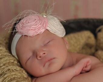 BABY Headband, pink and cream headband, CHIC Baby Headband, Vintage inspired Headband, headband for babies, shabby chic fabric headband