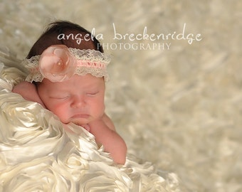 baby headbands, newborn headbands, small pink flower headband, infant, toddler, teen, adult great photo prop