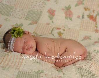 green small flower headband, Newborn Headband, Baby Headband, white skinny elastic headband