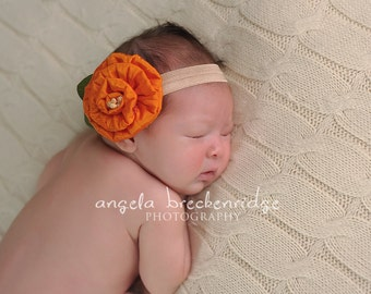baby headbands, newborn headbands, orange flower headband, infant, toddler, teen, adult great photo prop