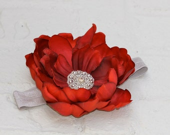 Newborn Headband, Baby Headband, red headband, Red flower Headband, gray headband, flower girl hair accessories