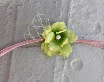 tiny flower headband, baby headband, pink baby headband, infant headband