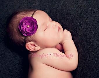 purple small flower headband, Newborn Headband, Baby Headband, brown skinny elastic headband