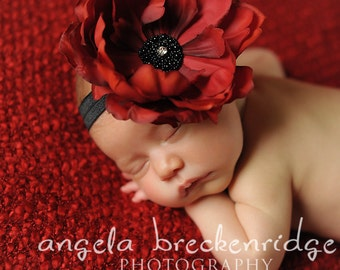 red and black baby headbands, red flower, newborn headbands, baby girl holiday
