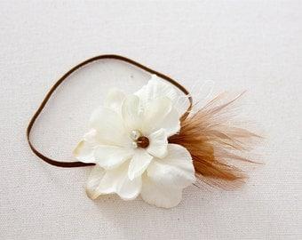 cream flower headband, vintage Newborn Headband, feather Headband, brown skinny elastic headband