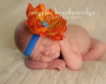 Orange and Blue Flower Headband, baby headband, orange flower, blue elastic, newborn photography props