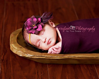 purple hair flower, vintage headband, baby headband,  Skinny gold Elastic Headband, Photography Props, Flower Girls, Newborn Headbands