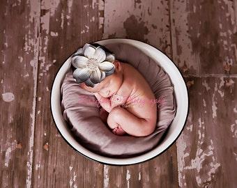 blue flower baby headband, newborn headbands, blue gray headband, photography prop